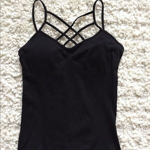Tops - Black Lattice Tank w/ Build in Bra